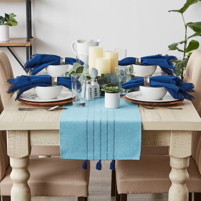Thera Blue Stripes Table Runner