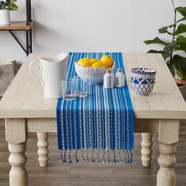 Blue Tonal Stripe With Fringe Table Runner
