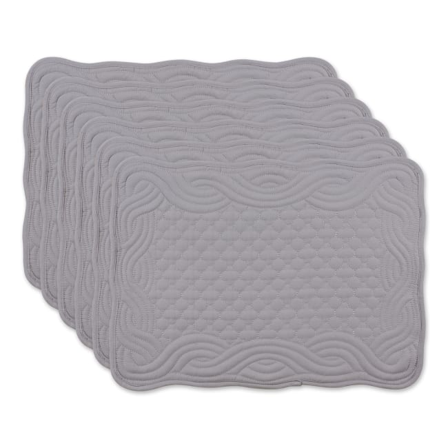 Gray Quilted Set of 6 Farmhouse Placemats
