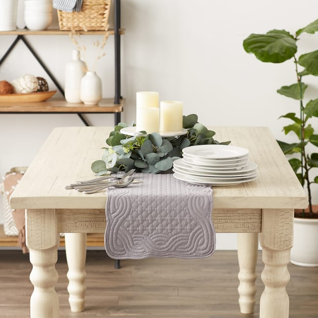 Gray Quilted Farmhouse Table Runner