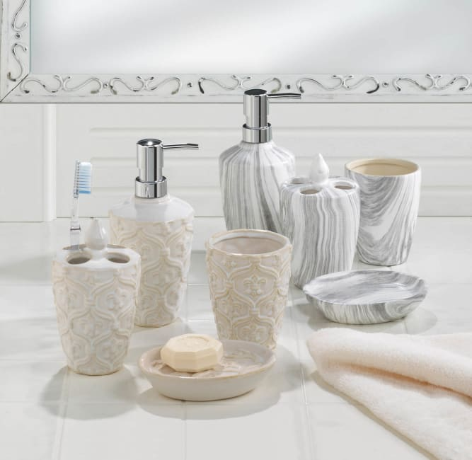 Marble Printed Bath Accessory Set