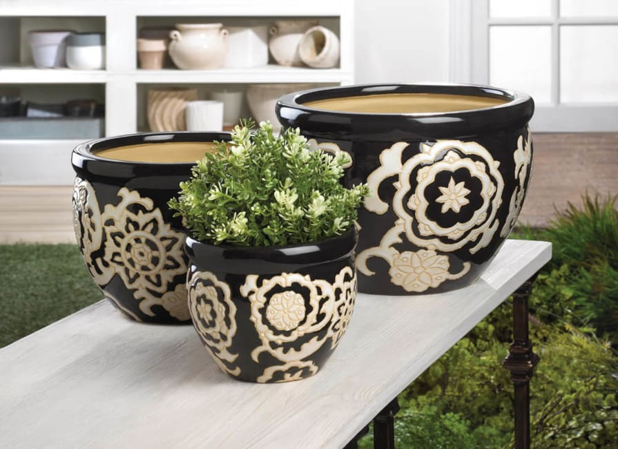 Floral Nights Ceramic Planter Set