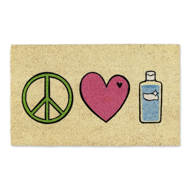 Peace Love Hand Sanitizer Doormat