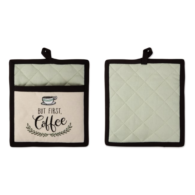 Coffee Time Embroidered Potholder Gift Set