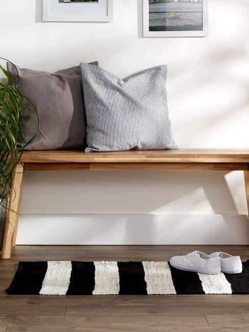 Black and White Stripe Rag Rug
