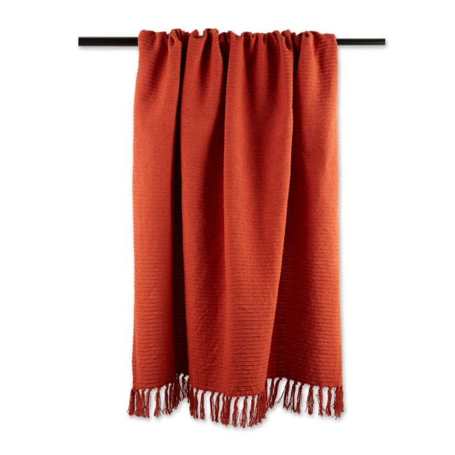 Vintage Red Solid Ribbed Throw