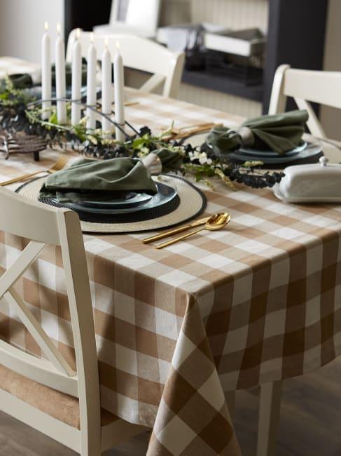 Stone Buffalo Check Tablecloth 70 Round