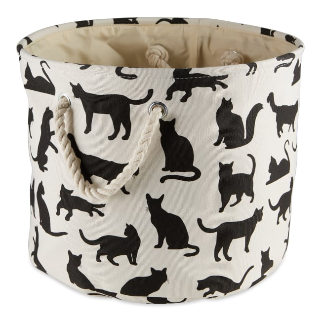 Cats Meow Polyester Round Small Pet Storage Bin