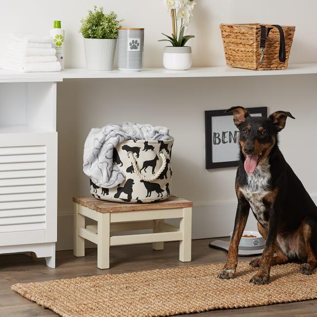 Dog Show Polyester Round Small Pet Storage Bin