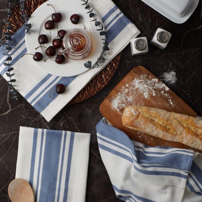 Chef Stripe Stonewash Blue Set of 3 Dishtowels