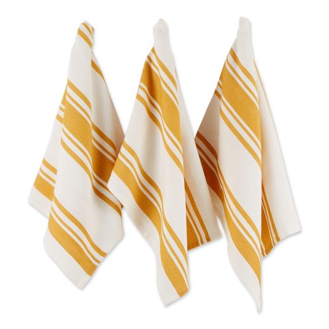 Chef Stripe Honey Gold Blue Set of 3 Dishtowels