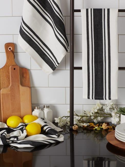 Chef Stripe Black Blue Set of 3 Dishtowels