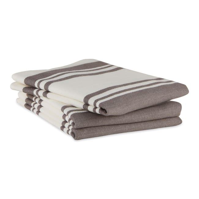Chef Stripe Gray Blue Set of 3 Dishtowels