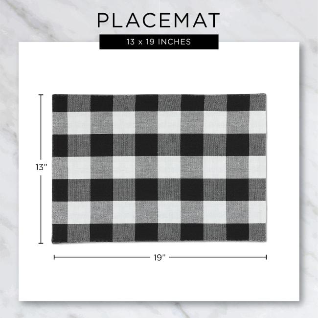 Buffalo Check Stone Ribbed Set of 6 Placemats