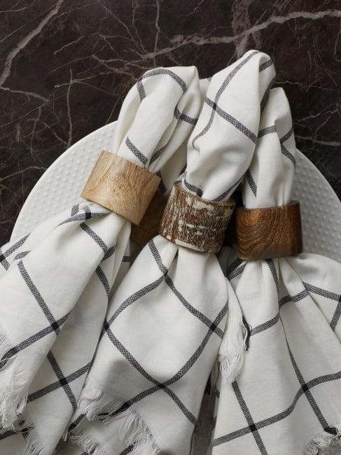 White Wash Finish Wood Band Set of 6 Napkin Rings