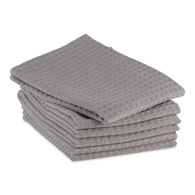 Gray Recycled Cotton Waffle Set of 6 Dishtowels