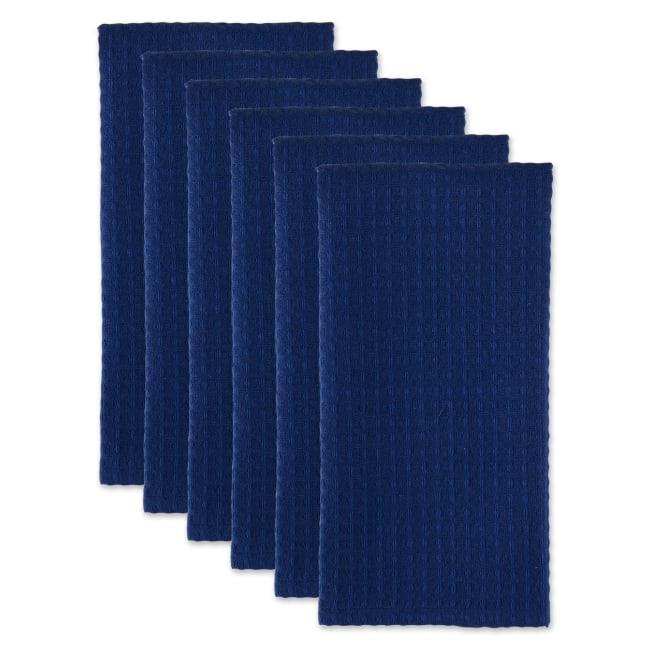 Blue Recycled Cotton Waffle Set of 6 Dishtowels