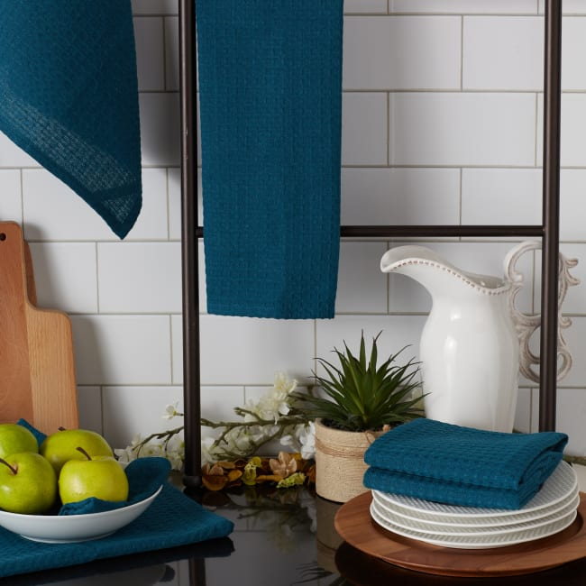 Teal Green Recycled Cotton Waffle Set of 6 Dishtowels