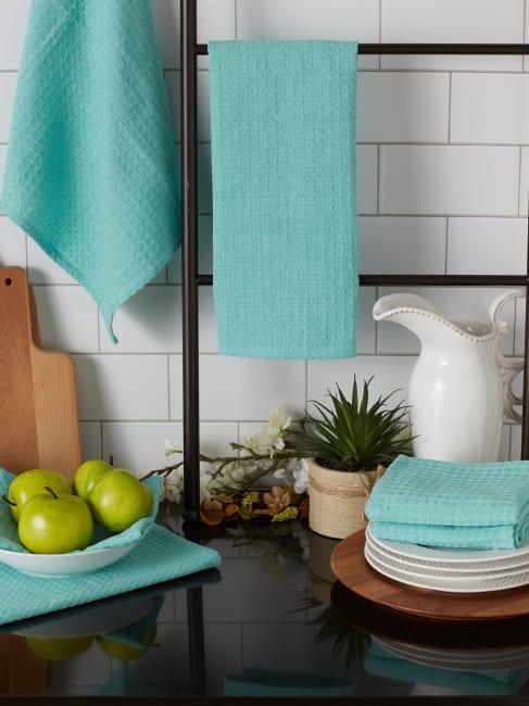 Aqua Recycled Cotton Waffle Set of 6 Dishtowels