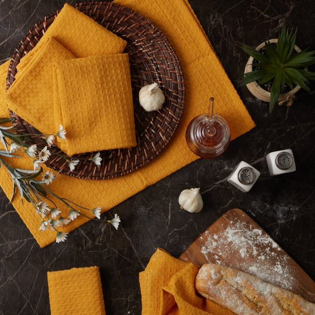 Honey Gold Recycled Cotton Waffle Set of 6 Dishtowels