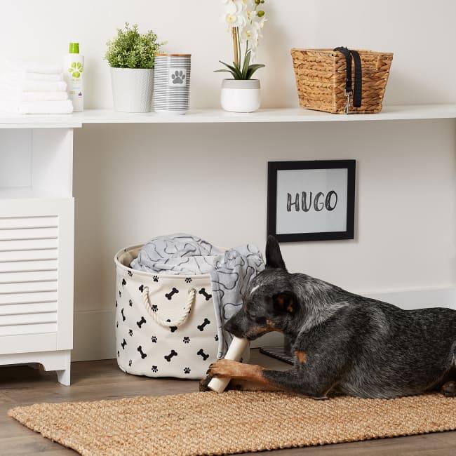 Black Paw Bone Polyester Round Medium Pet Storage Bin