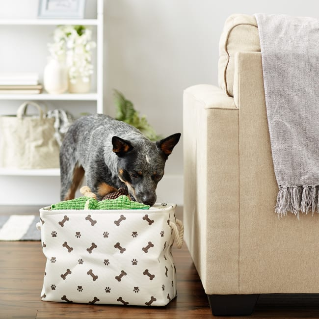 Dark Brown Paw Bone Polyester Rectangle Medium Pet Storage Bin