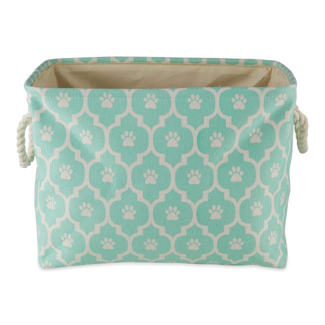 Aqua Lattice Paw Polyester Rectangle Small Pet Storage Bin