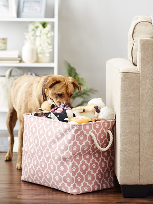 Rose Lattice Paw Polyester Rectangle Large Pet Storage Bin