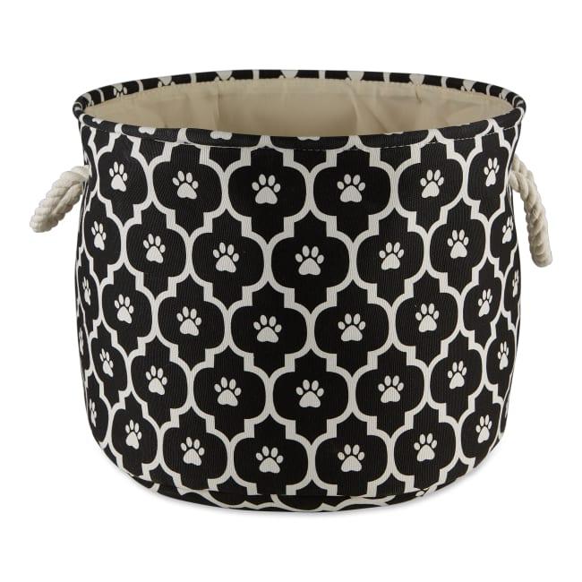Black Lattice Paw Polyester Round Large Pet Storage Bin