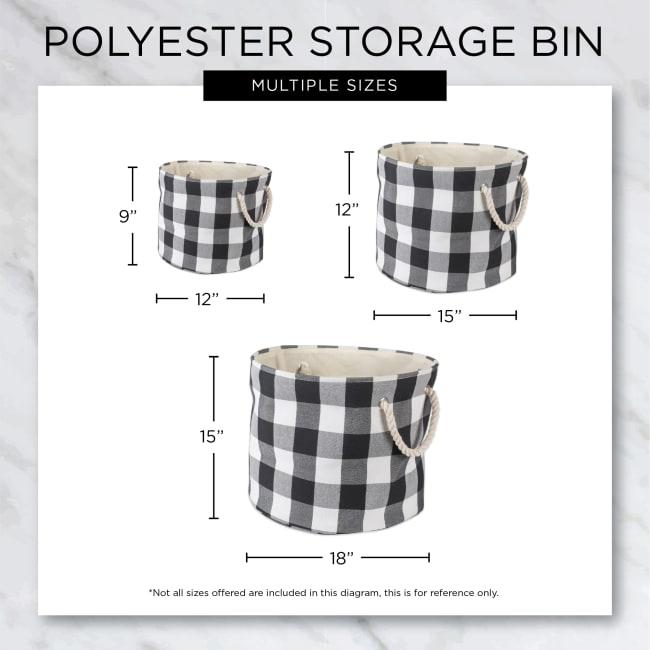 Rose Round Medium Bone Dry Stripe With Paw Patch Black Pet Storage Bin