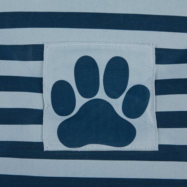 Dark Navy Round Medium Bone Dry Stripe With Paw Patch Black Pet Storage Bin