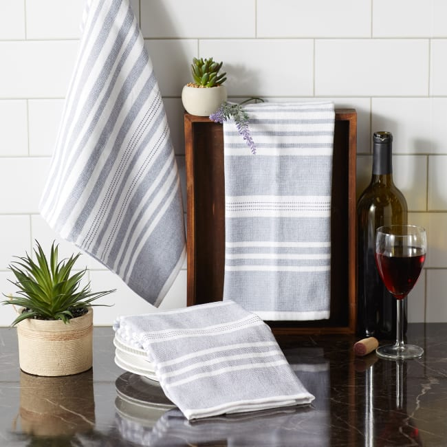 French Blue French Terry Variegated Stripe 3 Piece Dishtowel