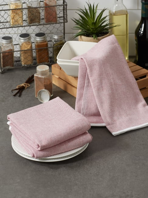 Barn Red French Terry Variegated Stripe 3 Piece Dishtowel