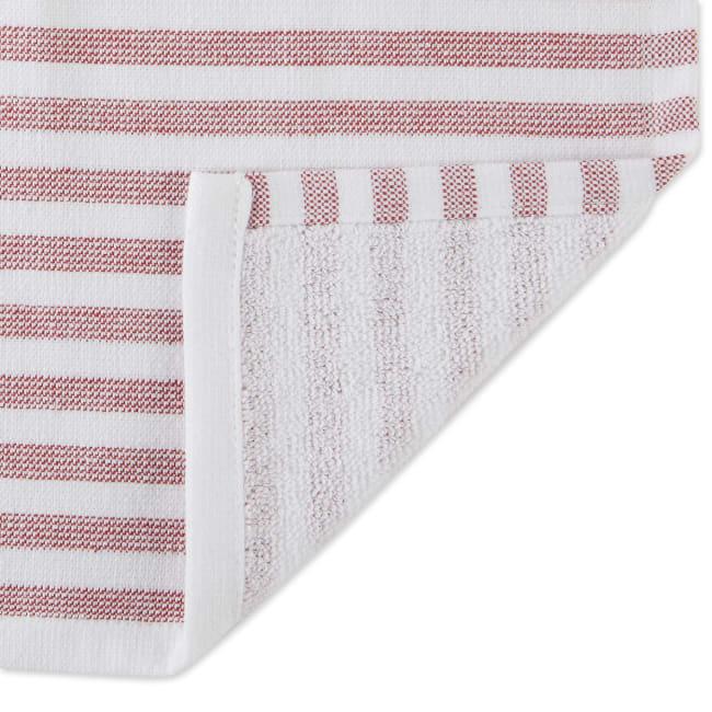 Barn Red French Terry Nautical Stripe 3 Piece Dishtowel