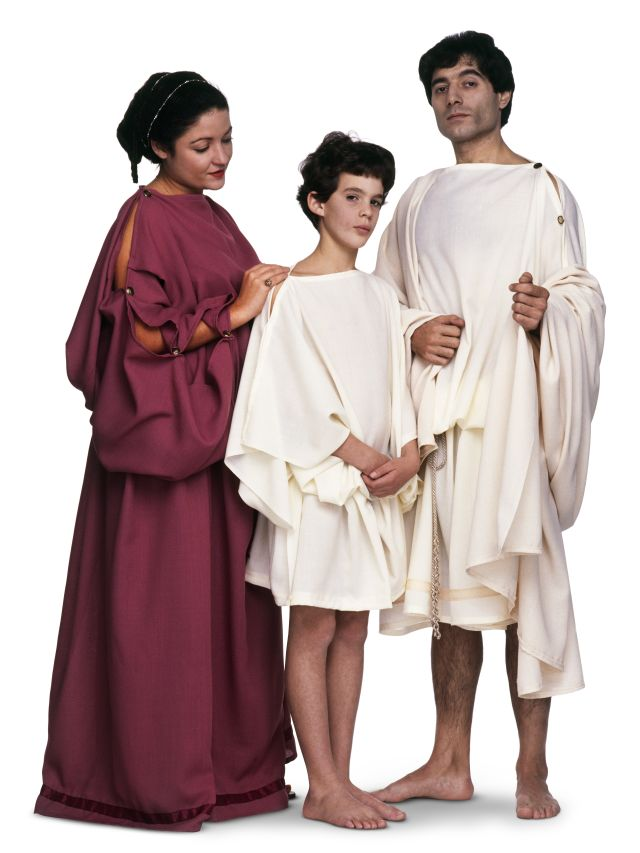 Ancient Greek clothing was made of linen or wool and included three main items: the chiton, the peplos (worn only by women), and the himation. Gold jewelry bedazzled with gems was popular, and women often wore white face makeup and red cheek and lip makeup.