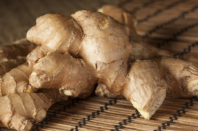 Fresh Organic Oriental Ginger on a background