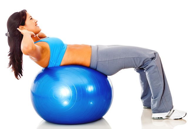Athletic woman exercising