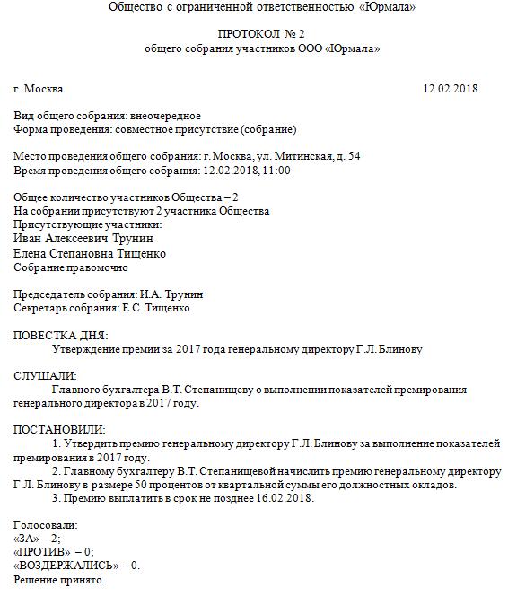 Протокол общего собрания о назначении директора