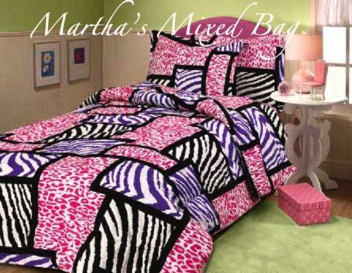Pink and black zebra bathroom set