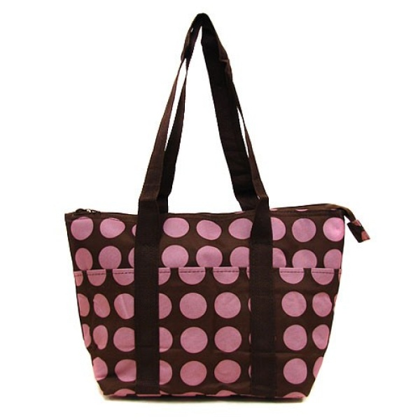 Brown pink polka dot luggage
