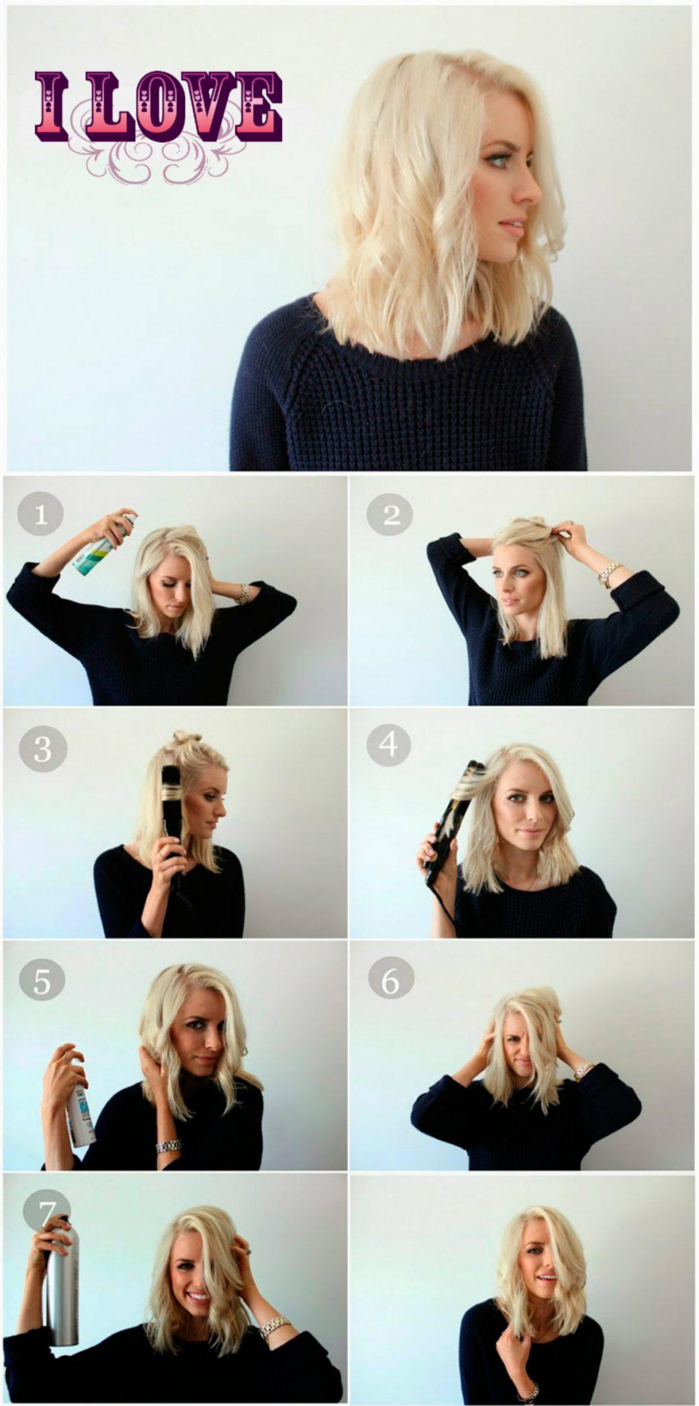 Фото укладка на волосы до плеч с челкой фото