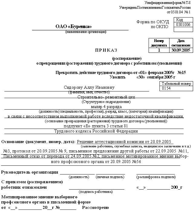 Увольнение за профнепригодность тк рф