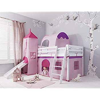 Pink cabin bed with slide