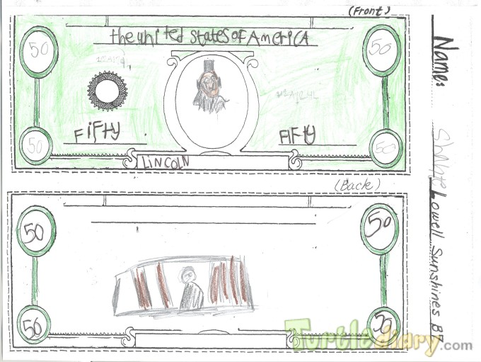 Lincoln 50 dollar bill - Design Your Own Money Contest March 2015 Submission