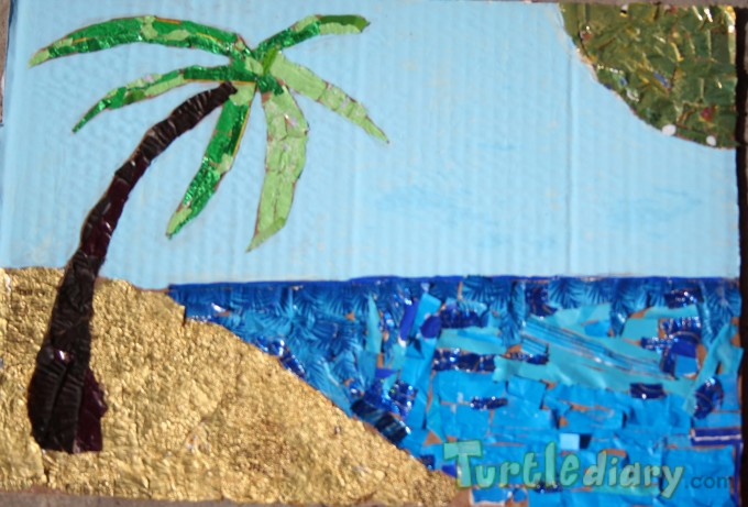 EASTER (candy wrapper) Island Made from candy wrappers and cardboard - Earth Day Contest April 2015 Submission