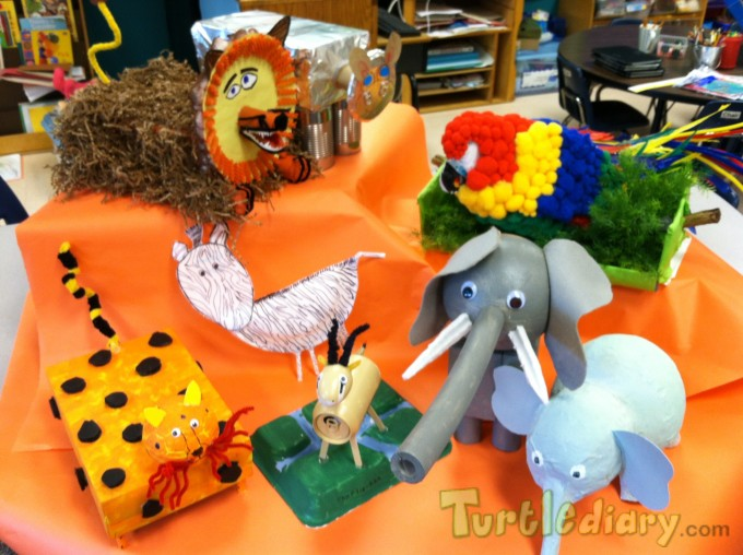 African animals made from recyclable materials - Earth Day Contest April 2015 Submission