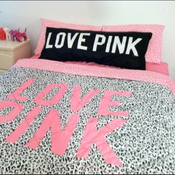 Victoria secret love pink cheetah bedding