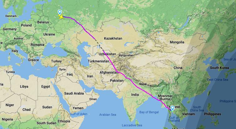 Время в пути до тайланда из москвы