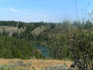 Looking east across the Spokane River from Riverside State Park.