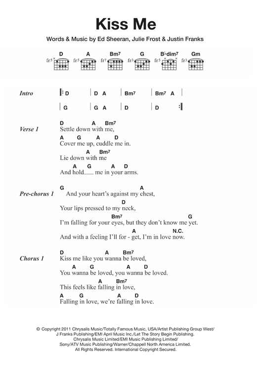 Chords for kiss me by ed sheeran